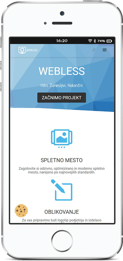 Webless - Slika prikazuje mobilni telefon z prilagojeno webless spletno mesto
