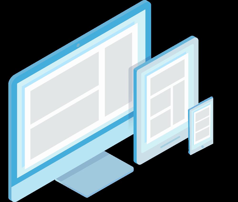 Webless - Slika prikazuje odzivnost elementov med mobilno ter desktop verzijo